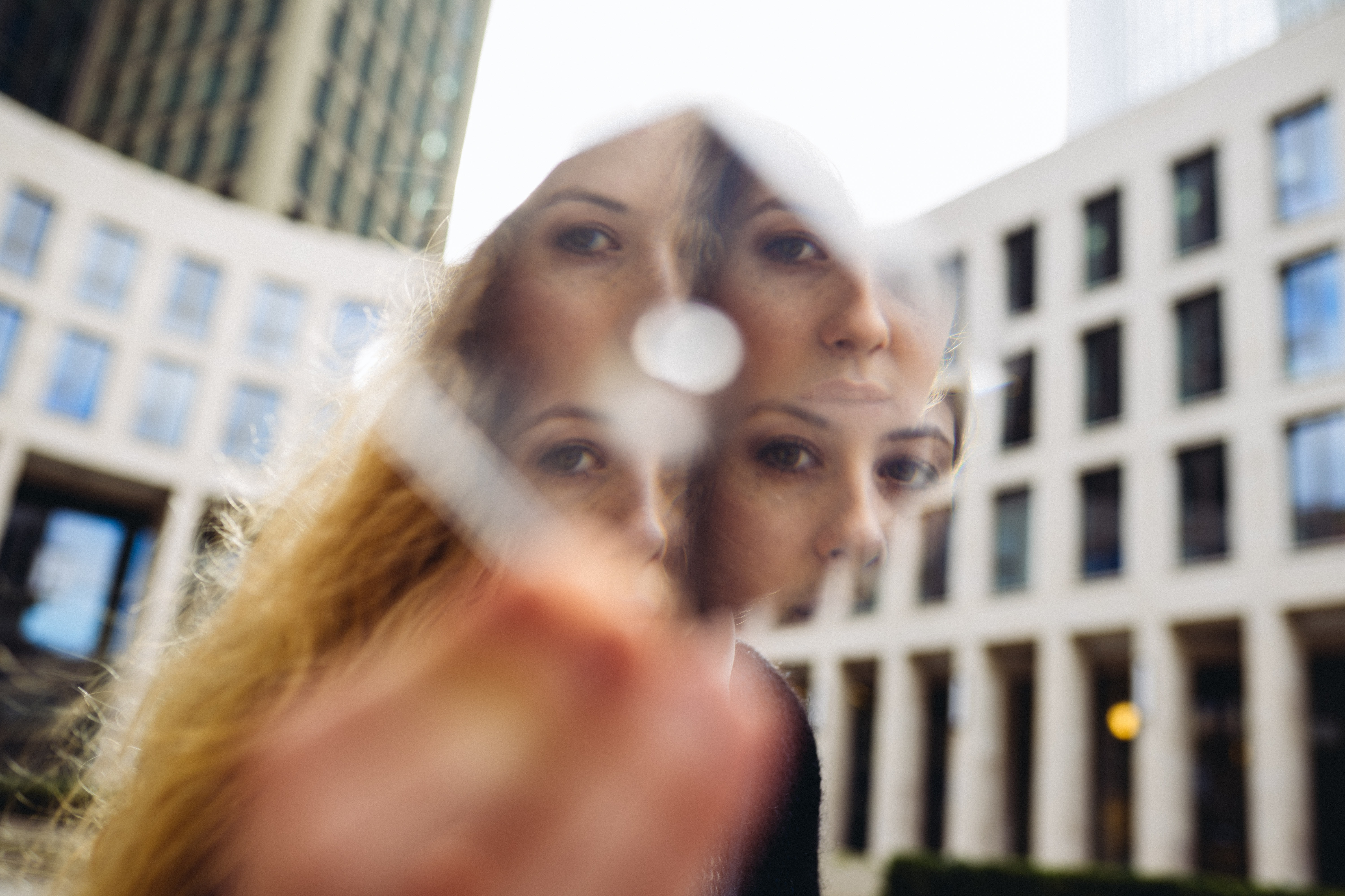 woman face reflection on mirror