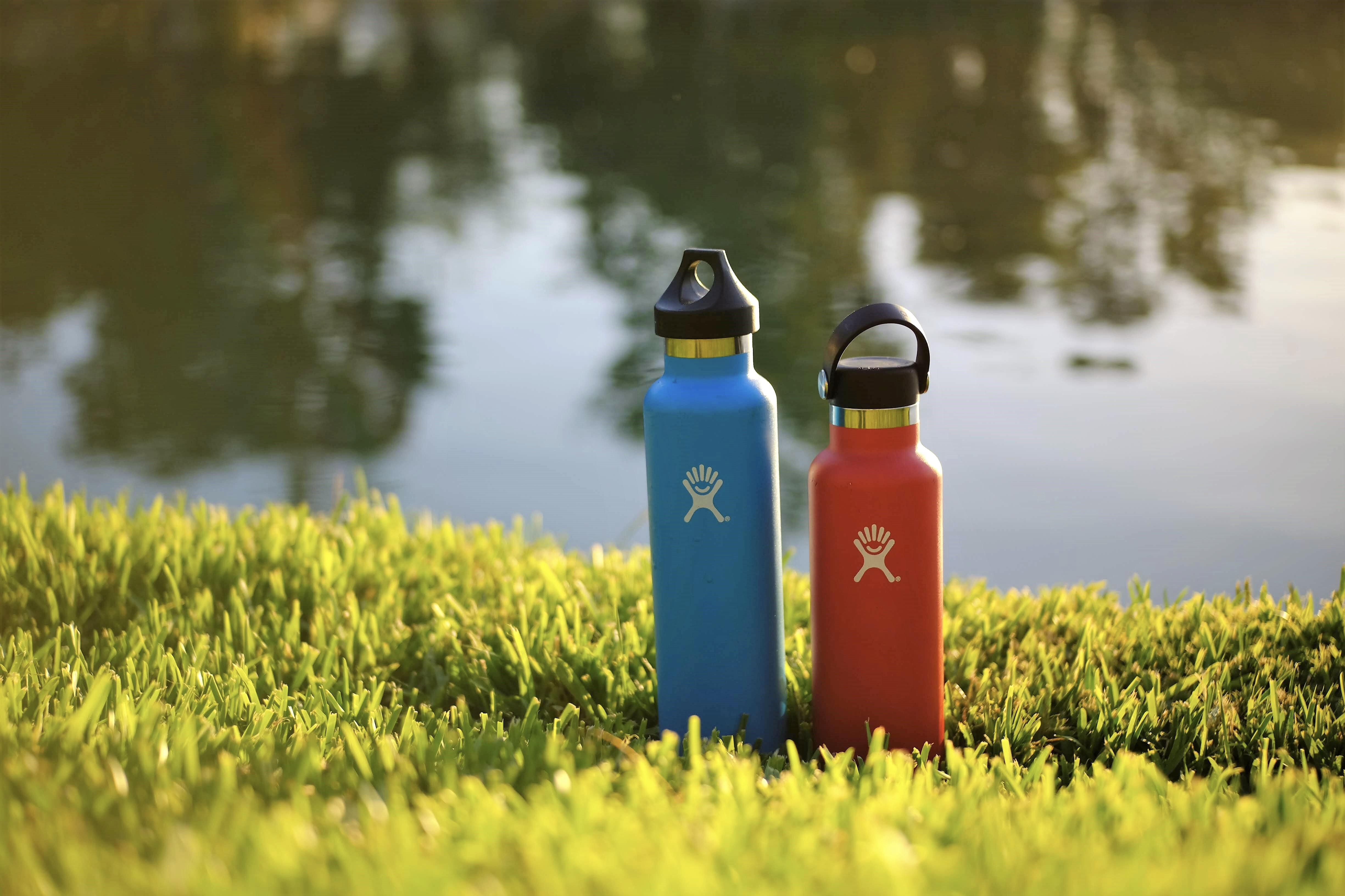 blue and red sports bottle on green grass near body of water during daytime