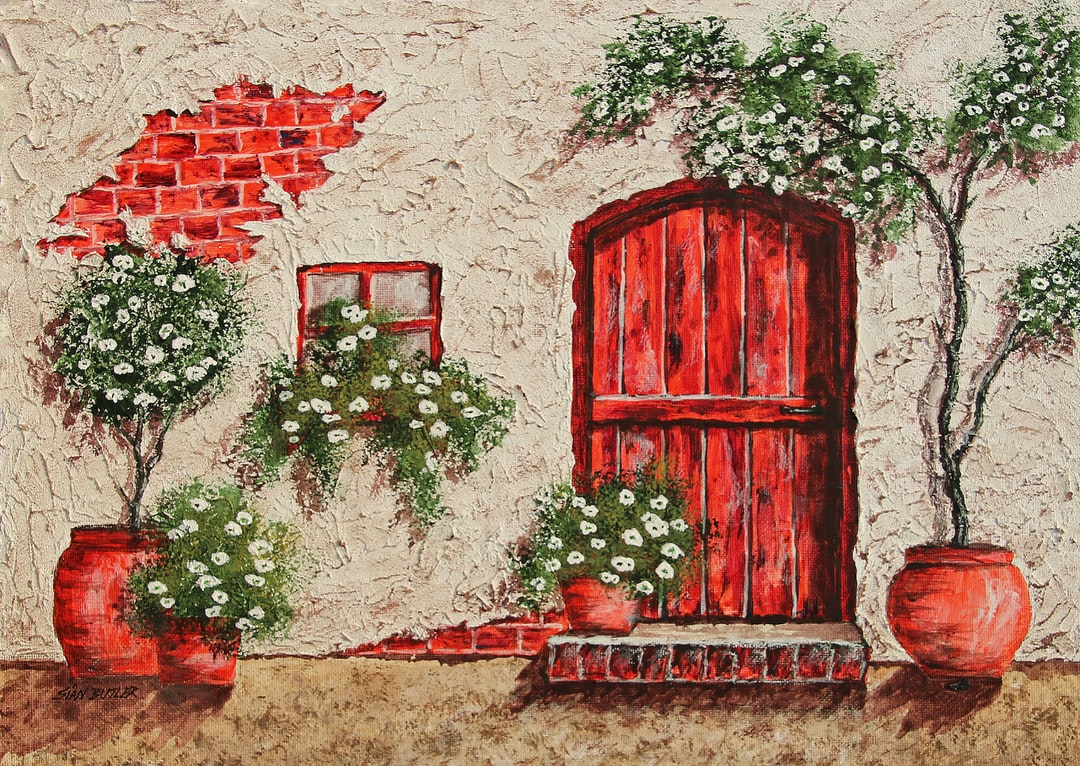 """I love the textures that my Mum Sian Butler creates in her paintings. This is one of her doorway or cottage series of acrylic paintings, but she also paints Australian Outback scenes and seascapes in pastels, and she is also a master of what I think is the most difficult medium, watercolour. If you are interested, you can type in """"Australian Outback paintings"""" into Google, and find more of her free to download paintings from there."""
