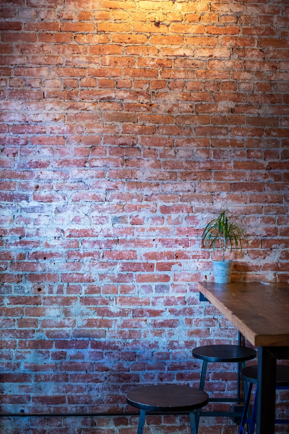 brown wooden dining table beside brown brick wall