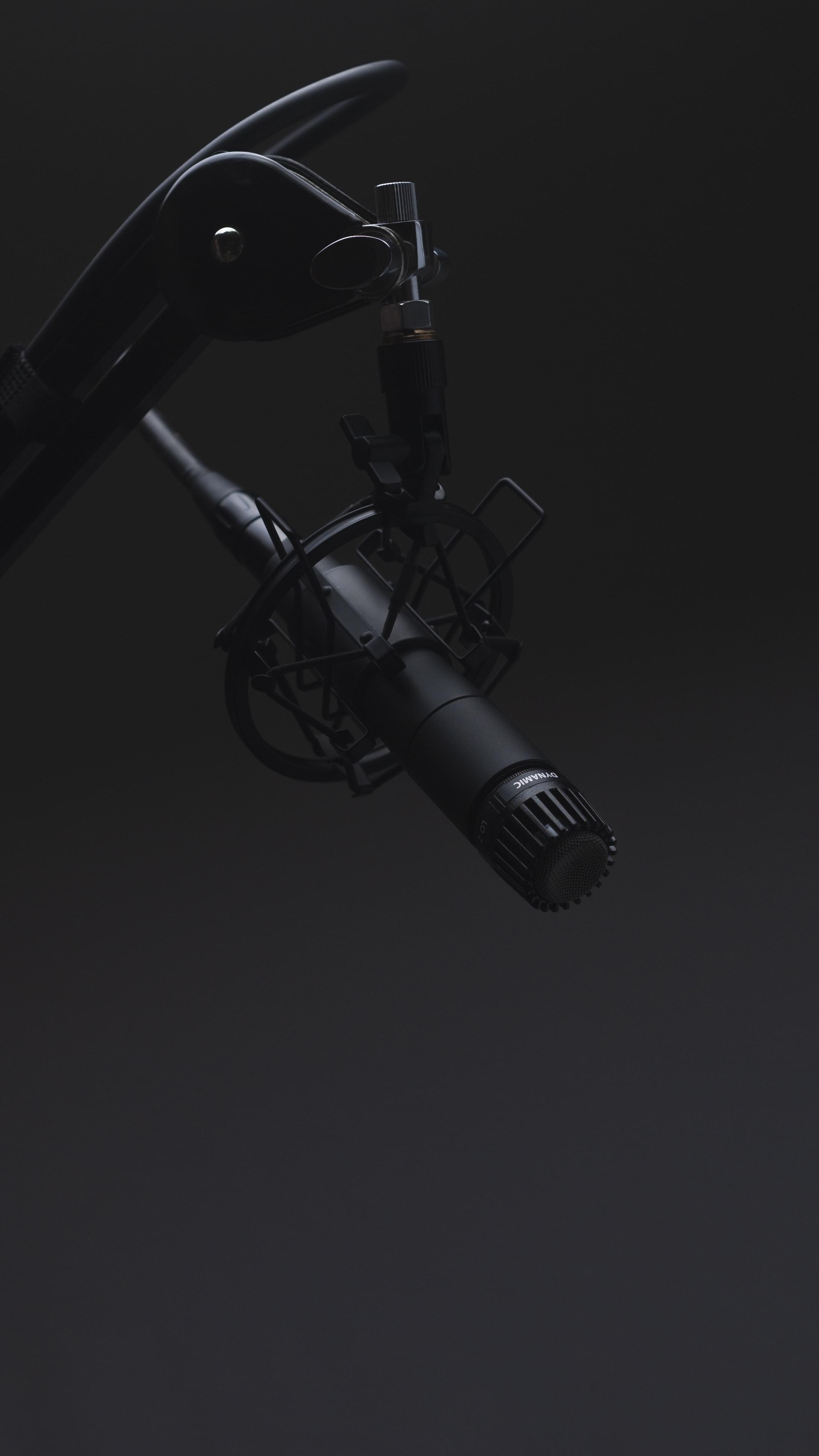 black microphone in dimmed room
