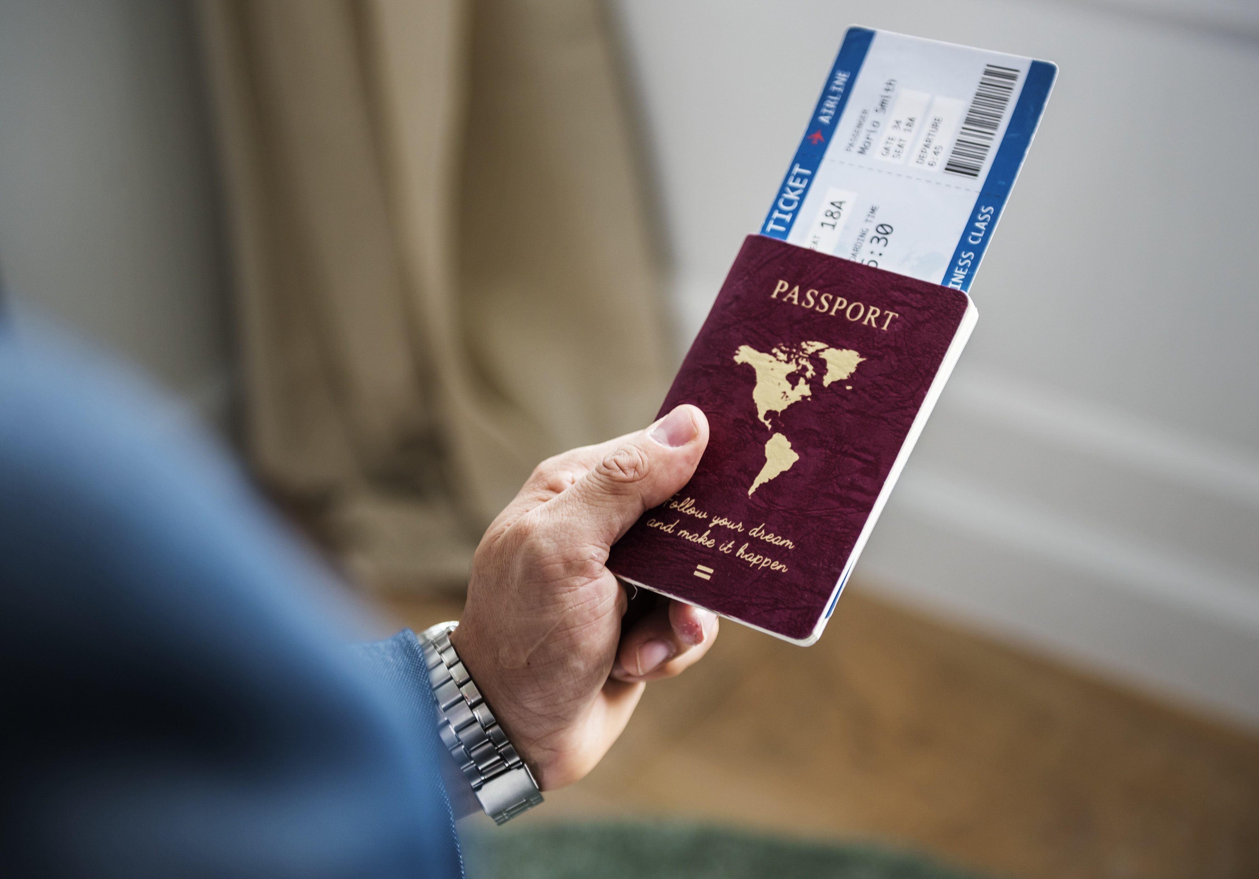 person holding passport