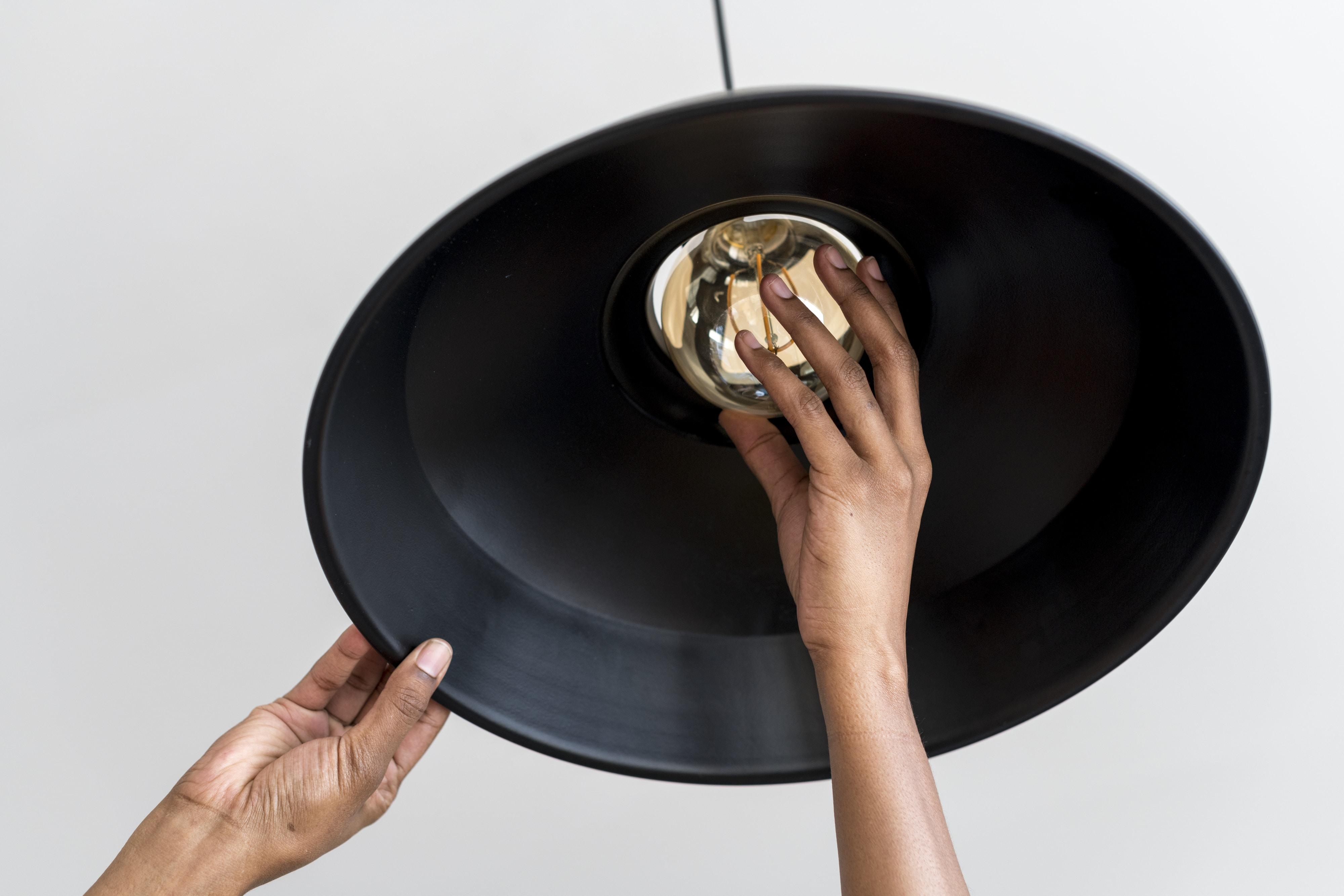 round black ceiling lamp