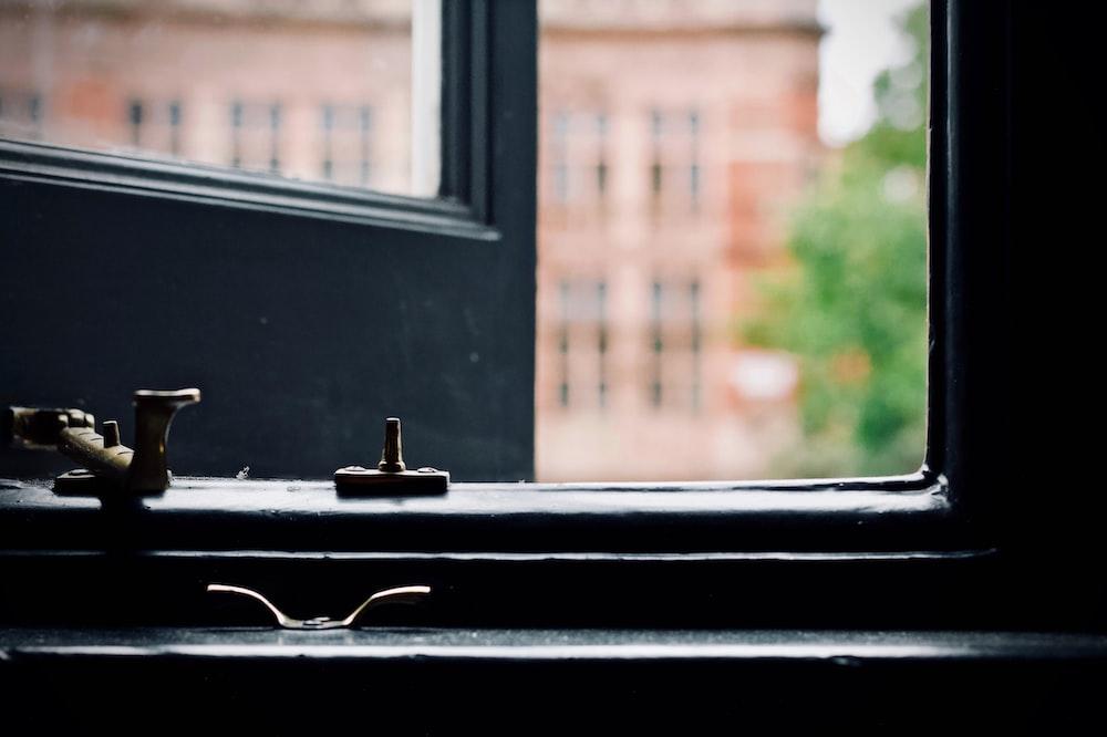 black framed window