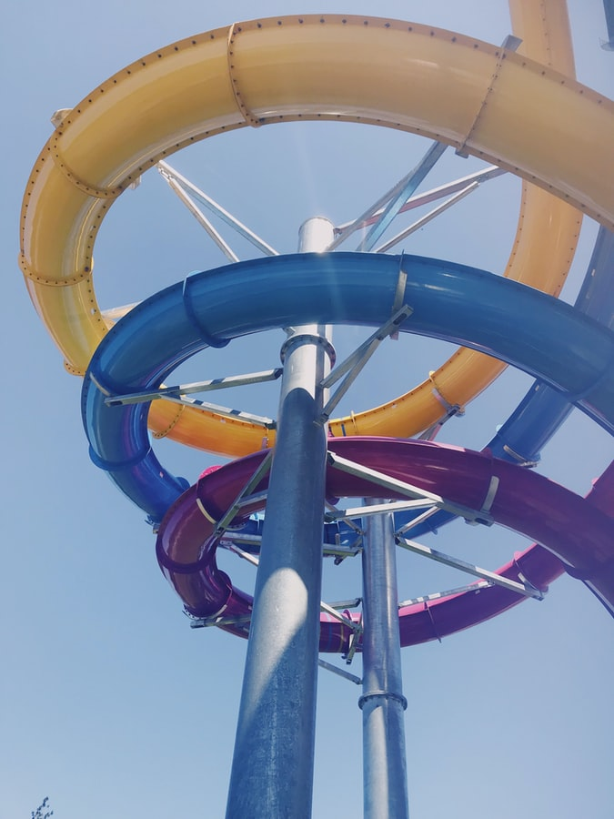 Multicolour water ride tubes