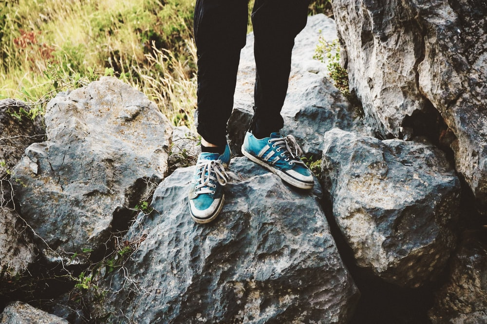 person wearing teal adidas low-top sneakers