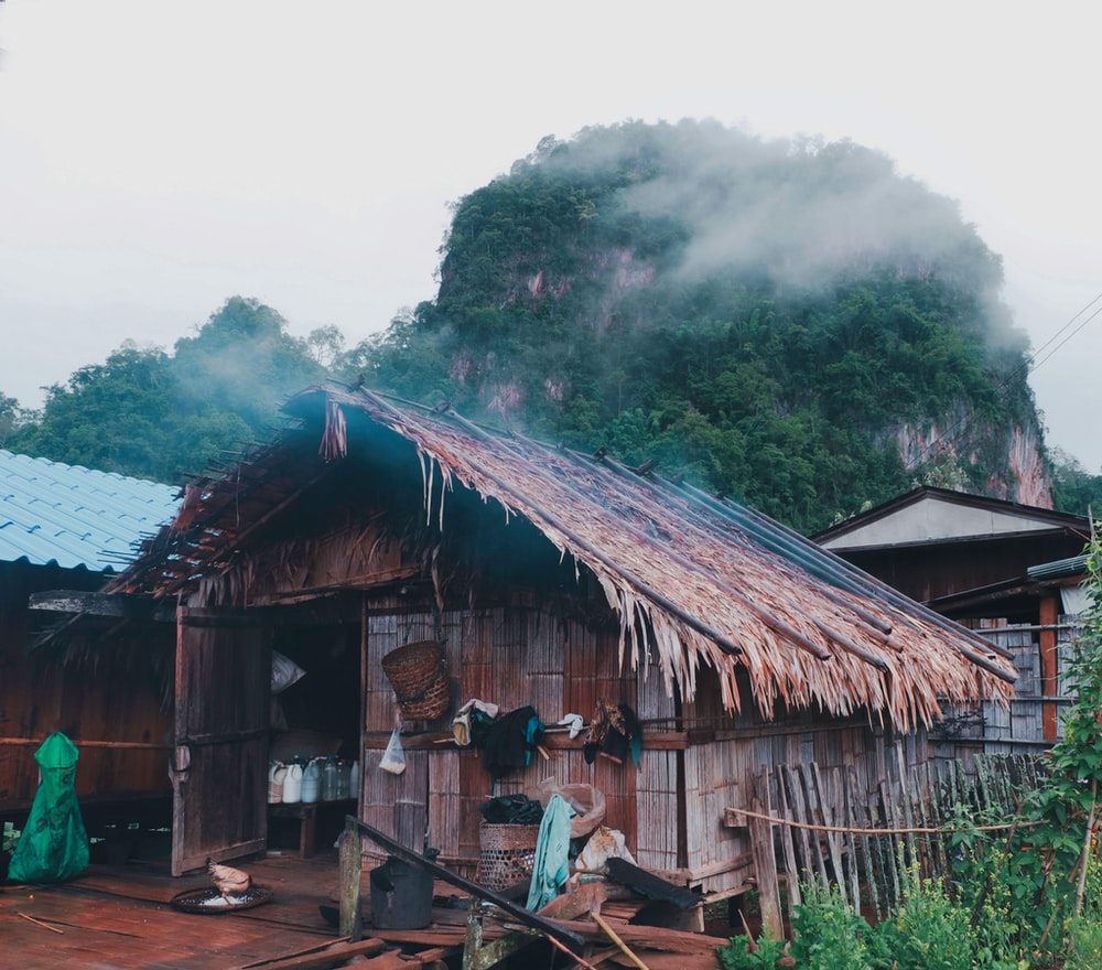 brown wooden house near the mountain