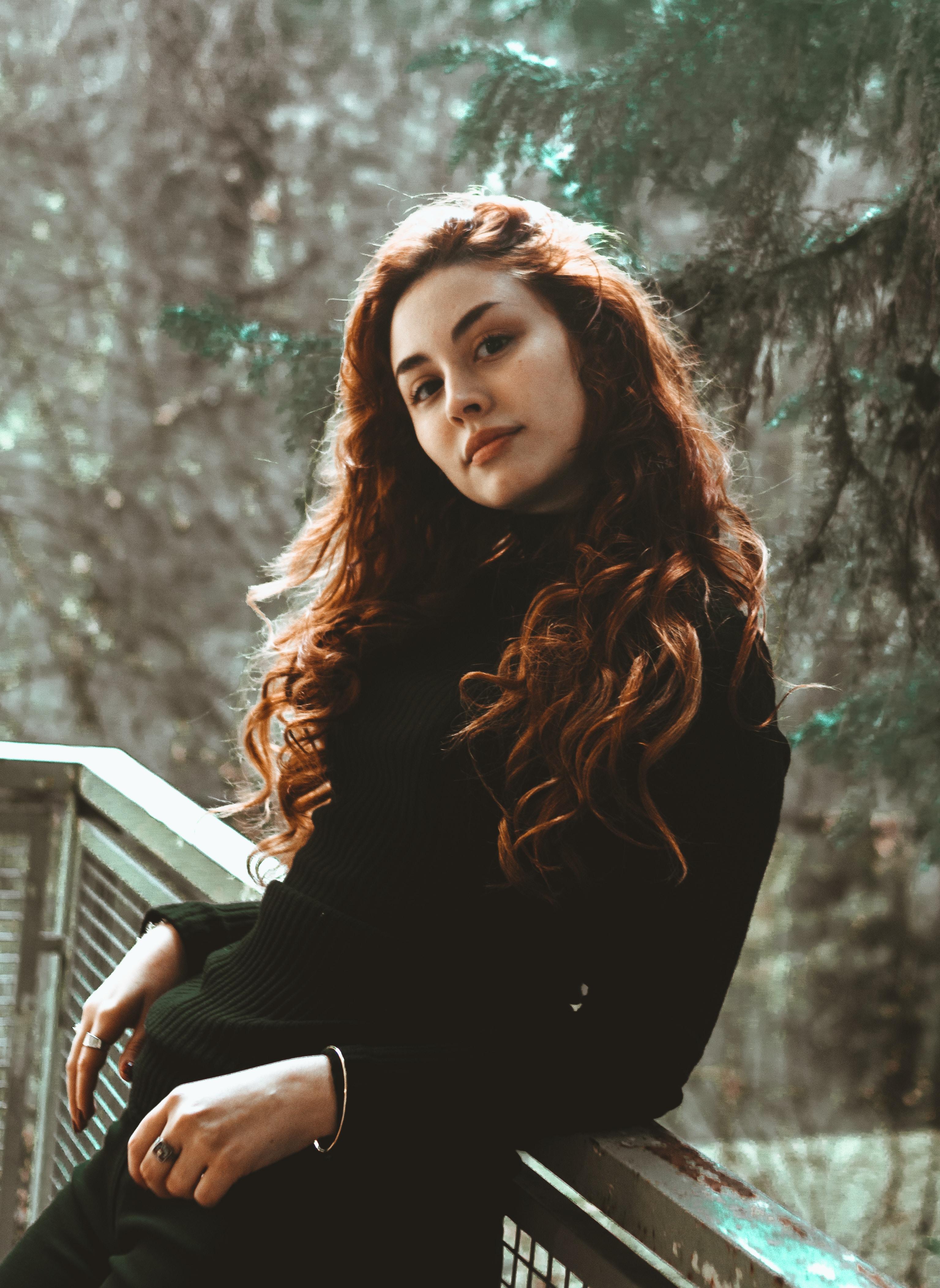 woman in black sweater