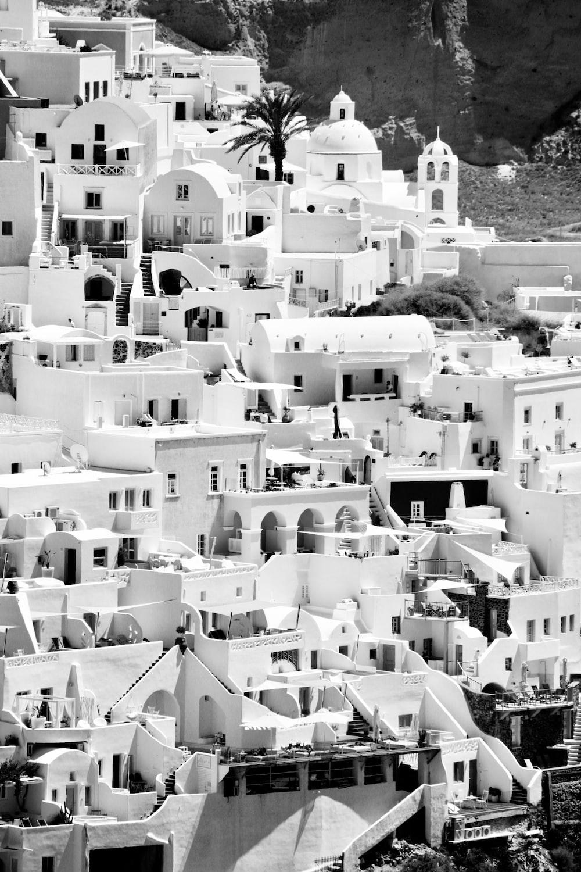 grayscale photo of Santorini