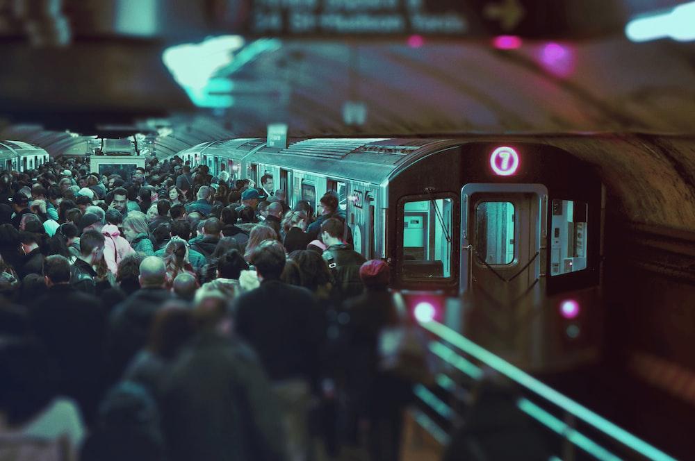 people on train station