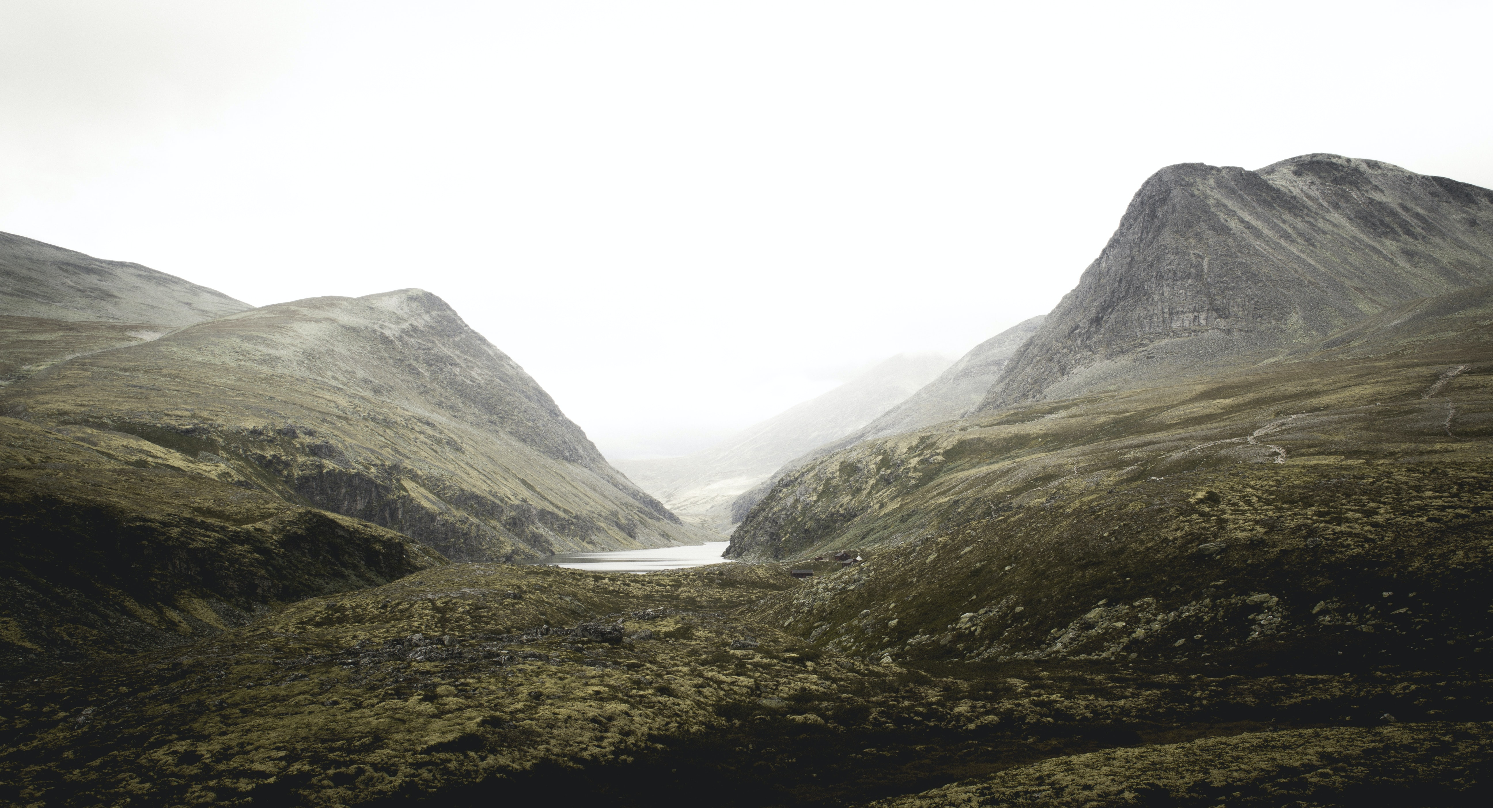 landscape photography of grey mountains