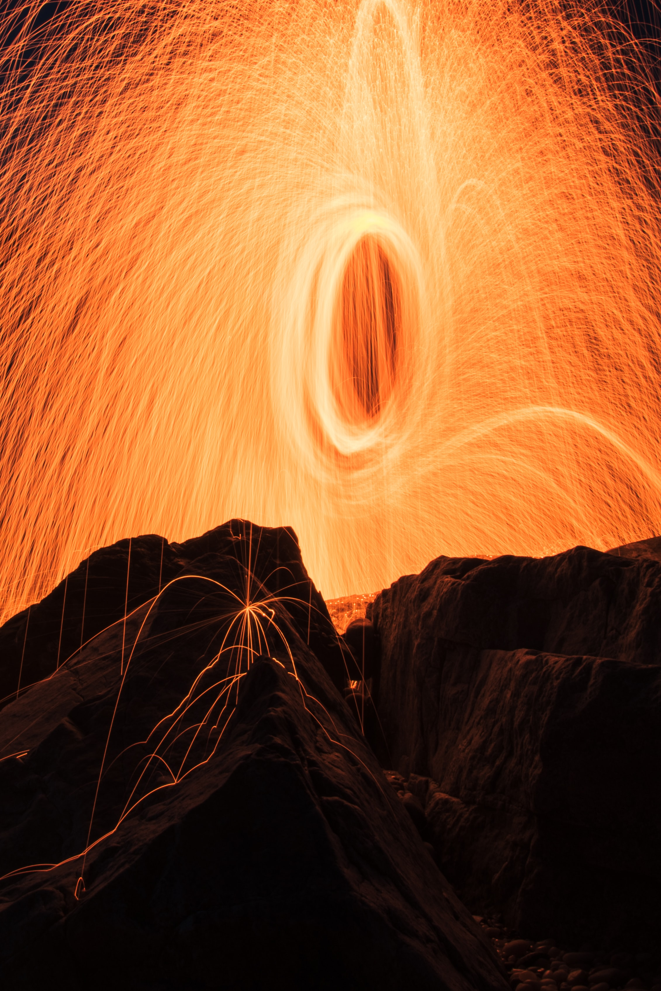 steel-wool photography of brown rock formations