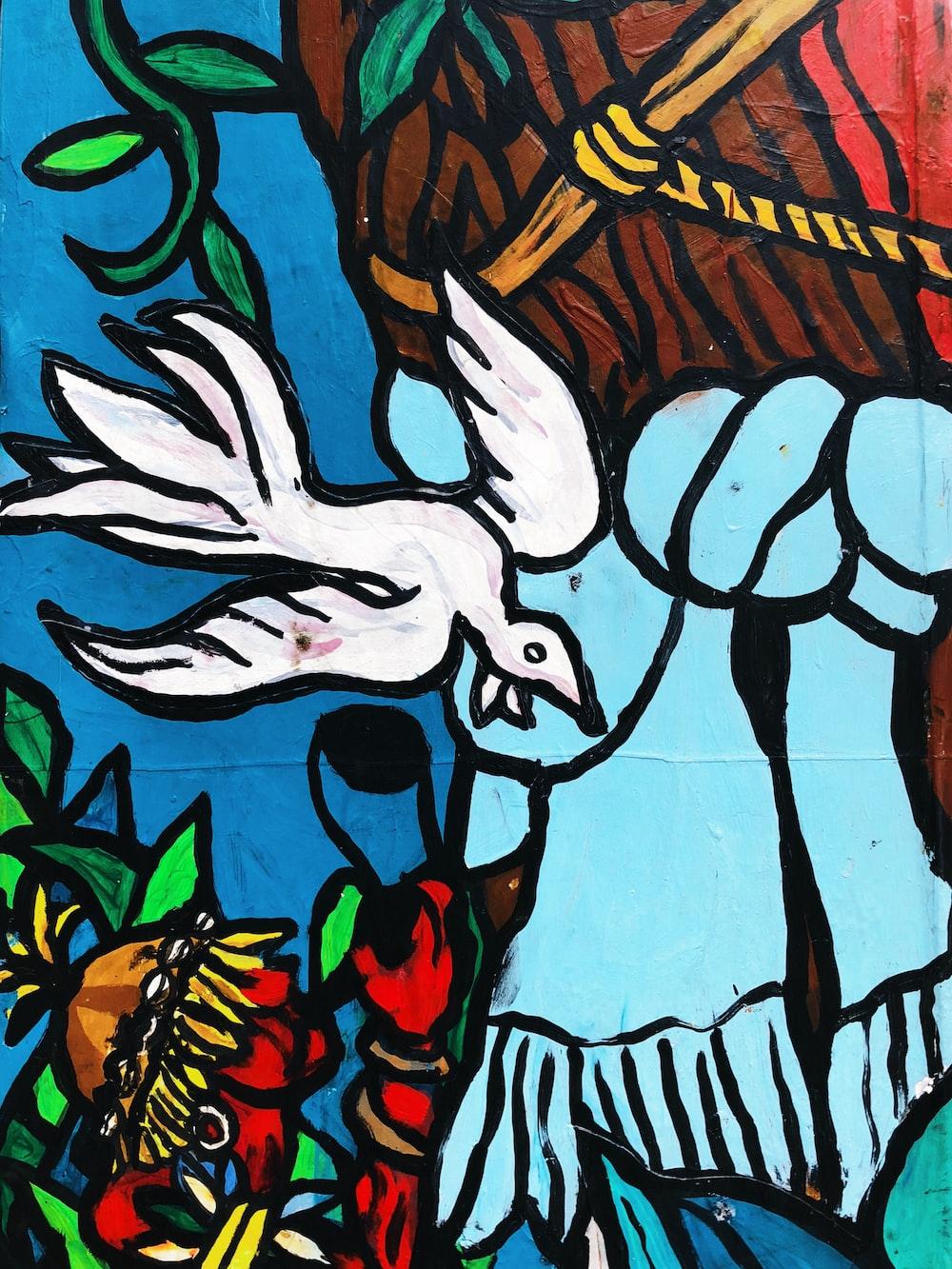 white bird mural