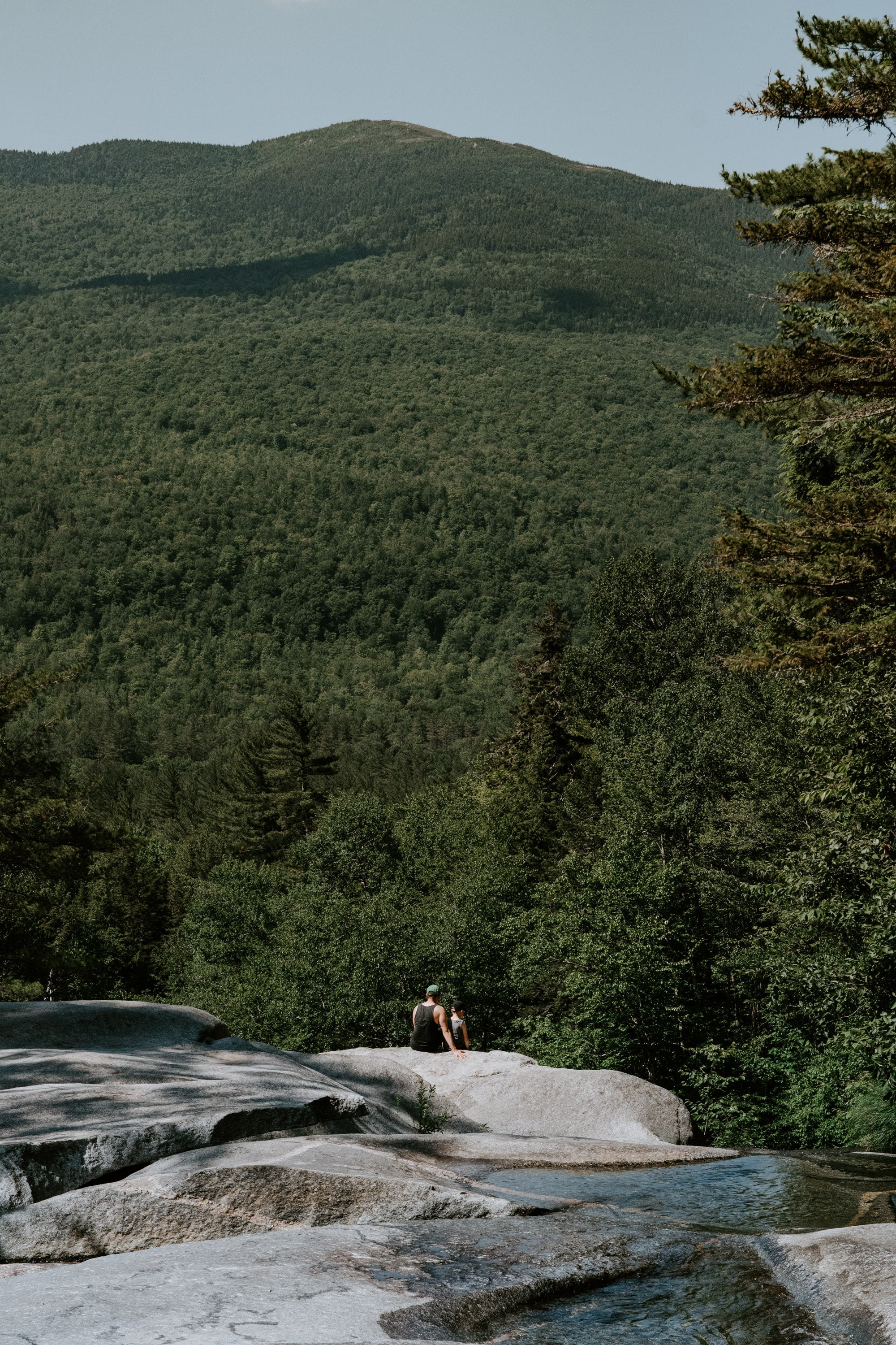 person sitting on mountain cliff overlooking green trees during daytime