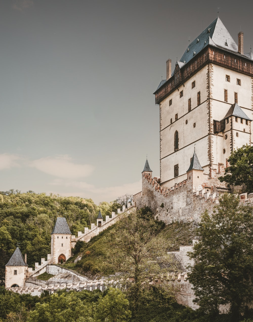 low-angle view photography of beige and blue castle