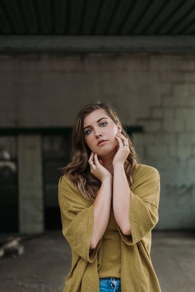 woman wearing brown cardigan