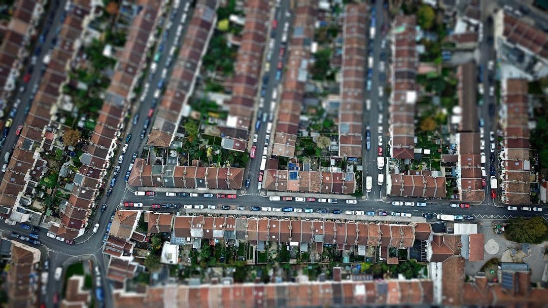 A vertical shot taken above a housing estate in Bristol city.