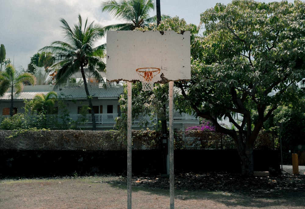 white basketball hoop outdoor