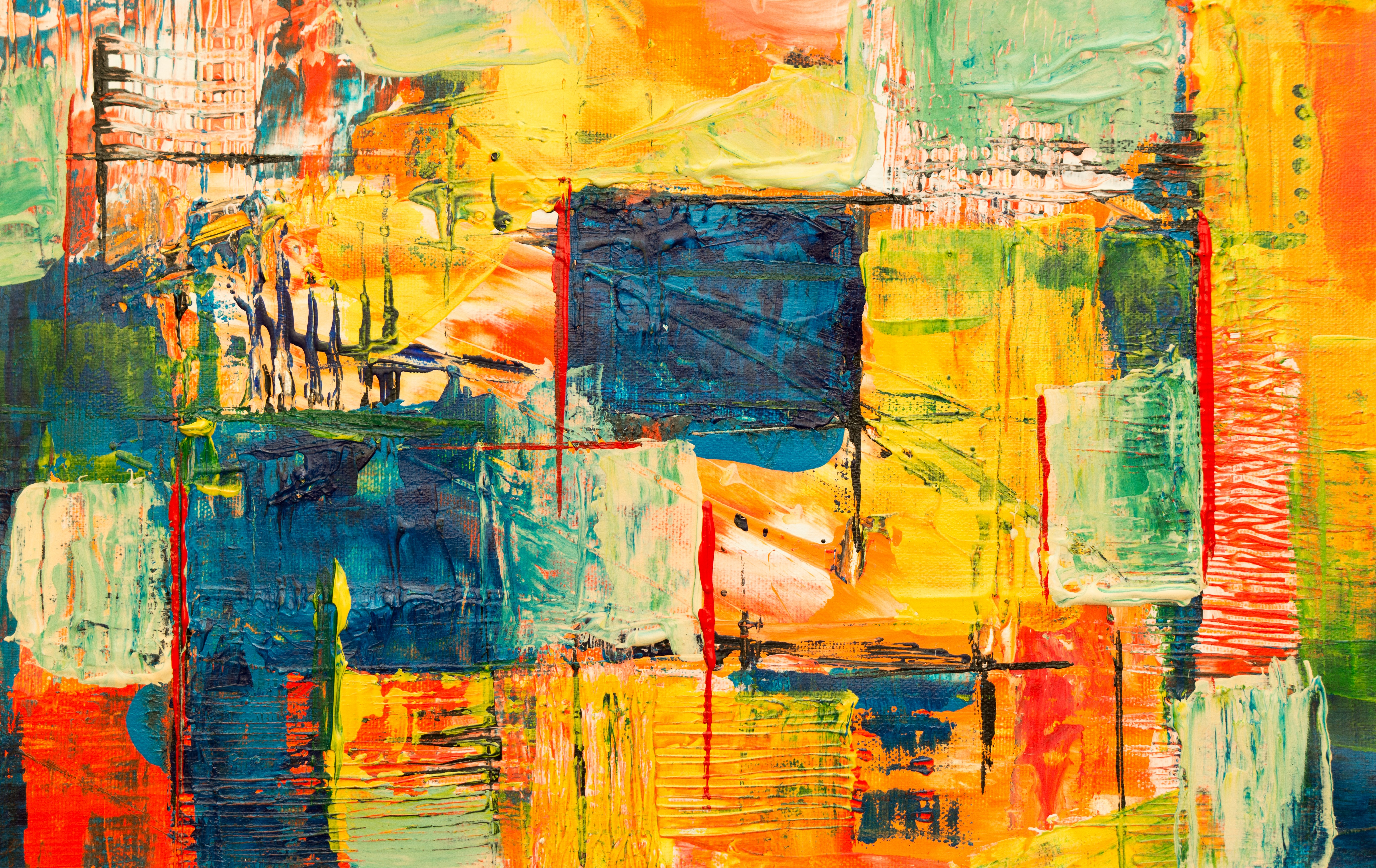yellow, red, green, and black abstract painting