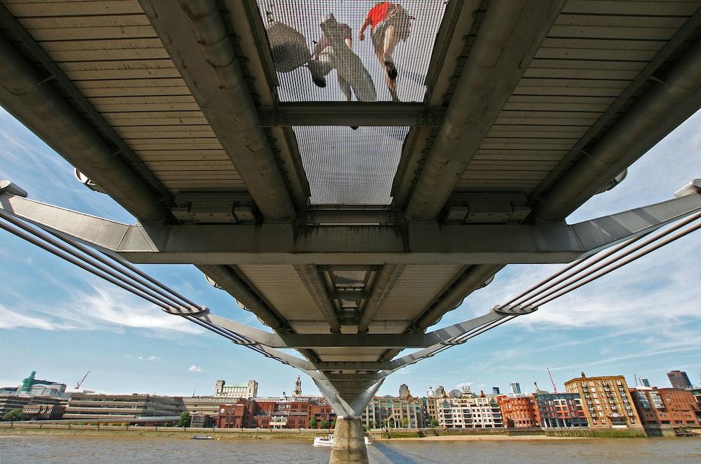 beige full-suspension bridge