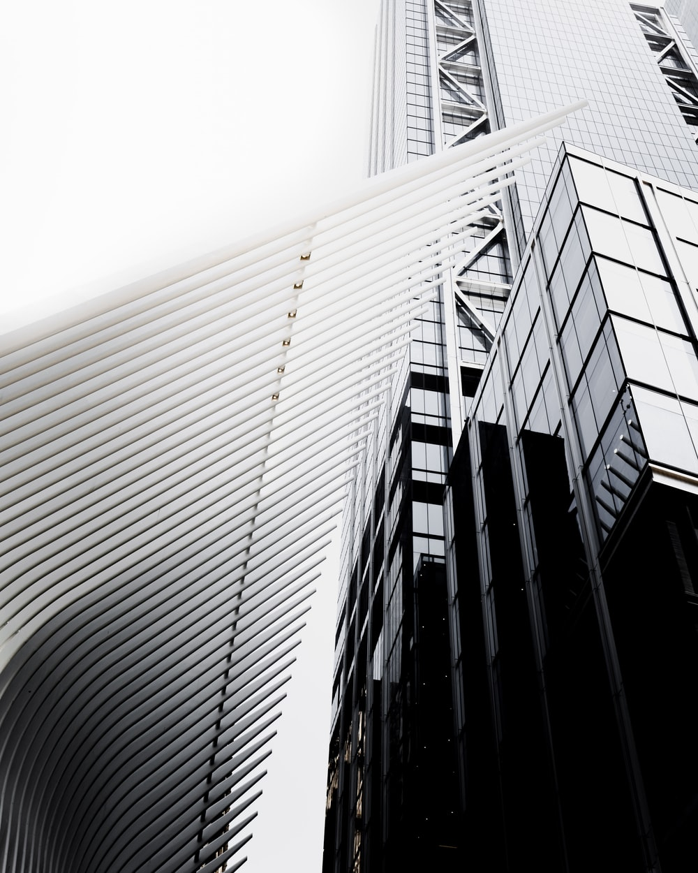 gray high-rise building in worm's eye view