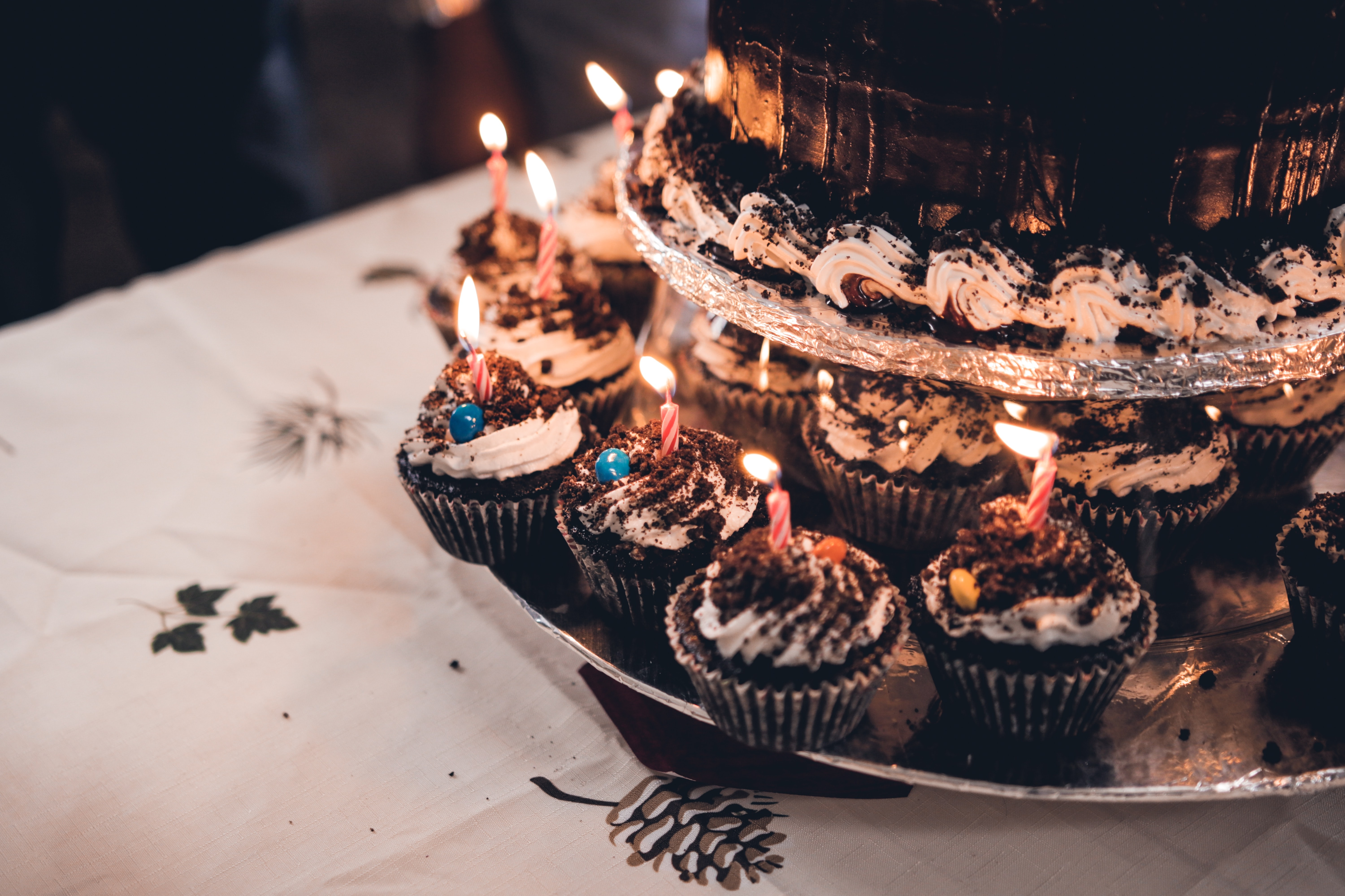 cupcake with lighted candles