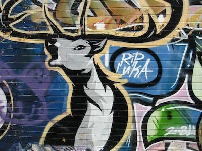 Belgrade black and white moose graffiti
