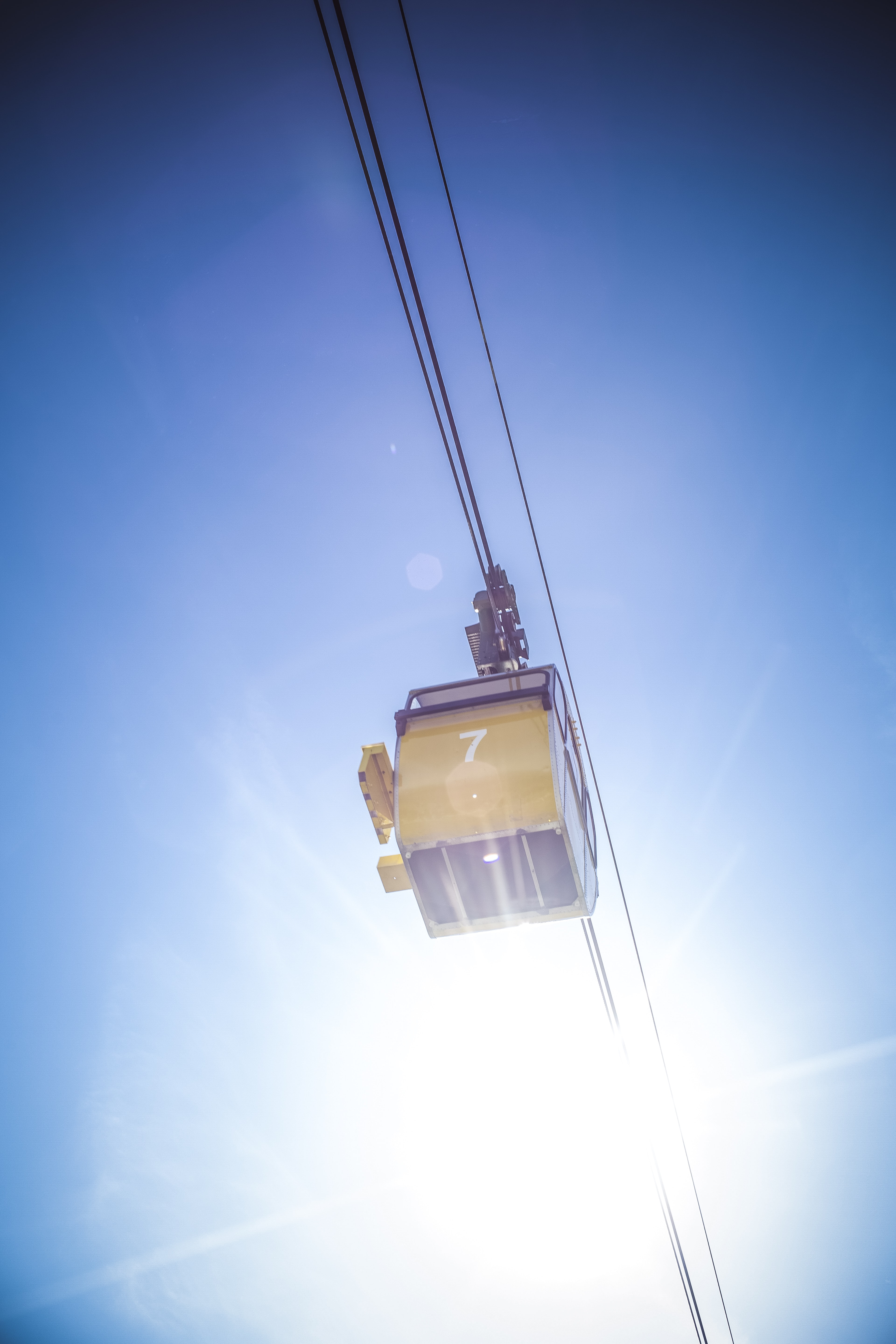 person showing yellow cable car