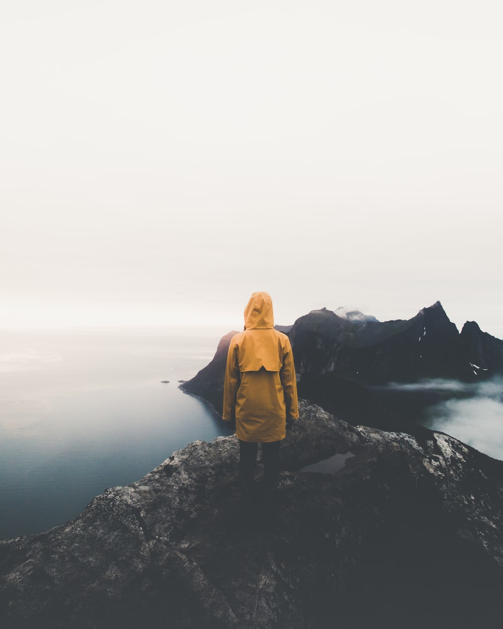 person standing on cliff