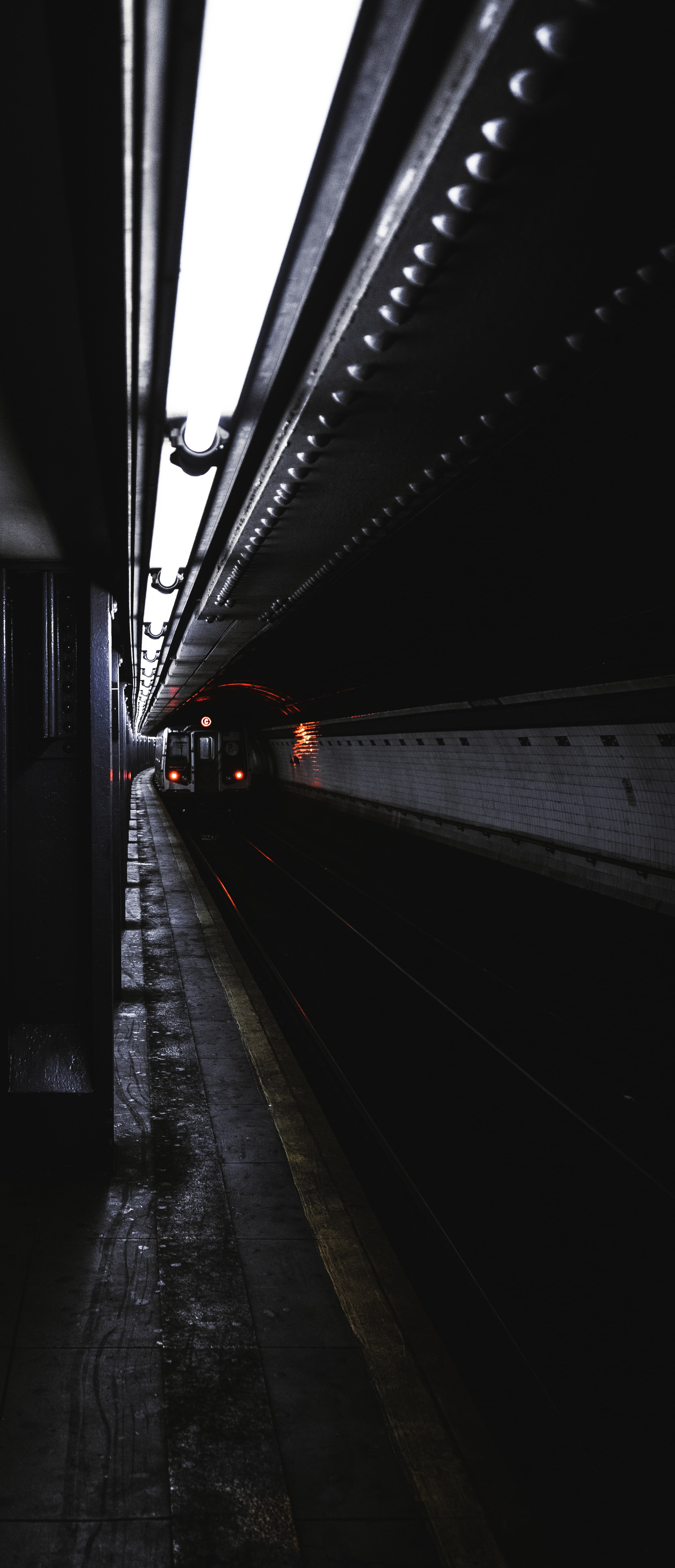 train passing on tunnel