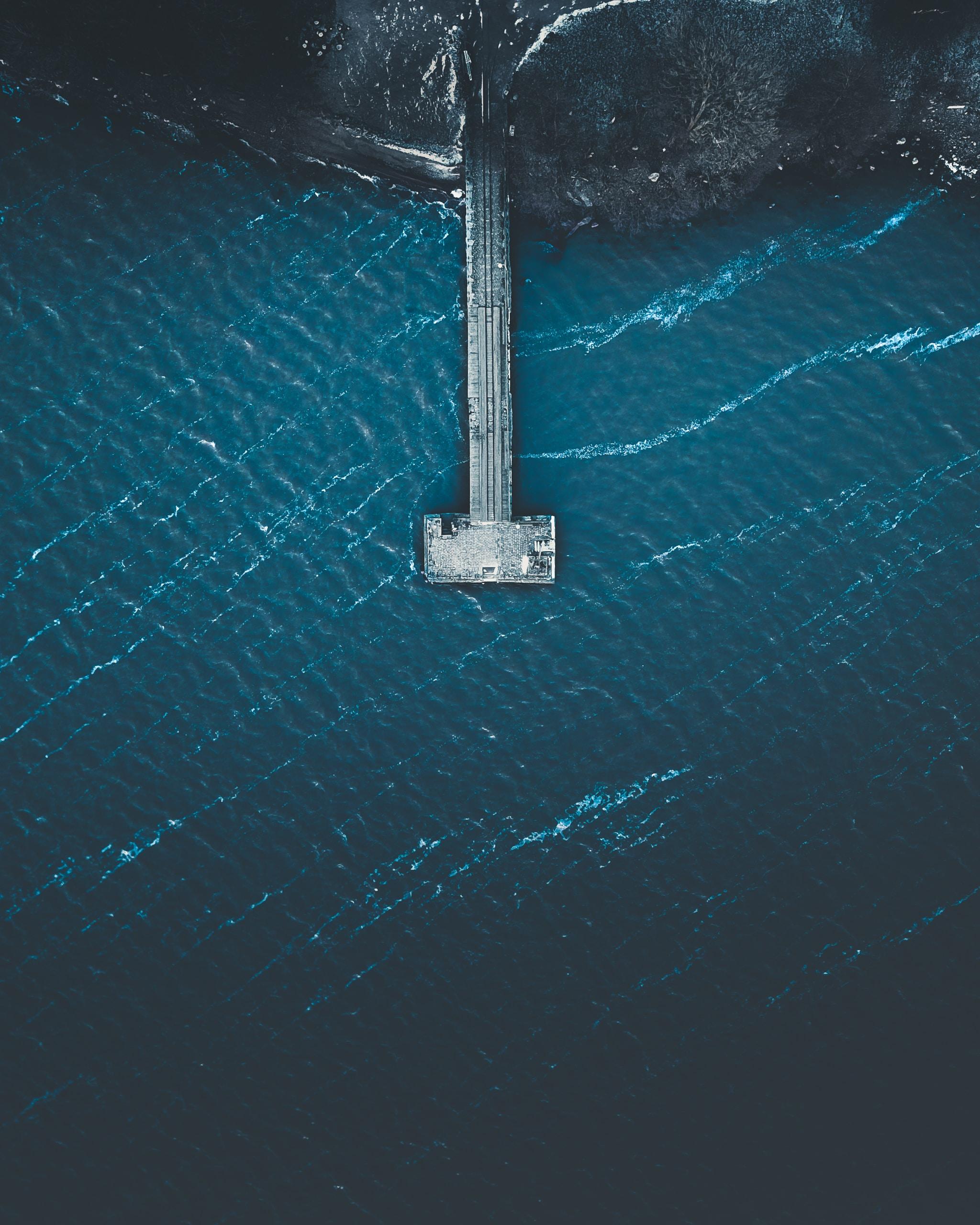 aerial photo of pier