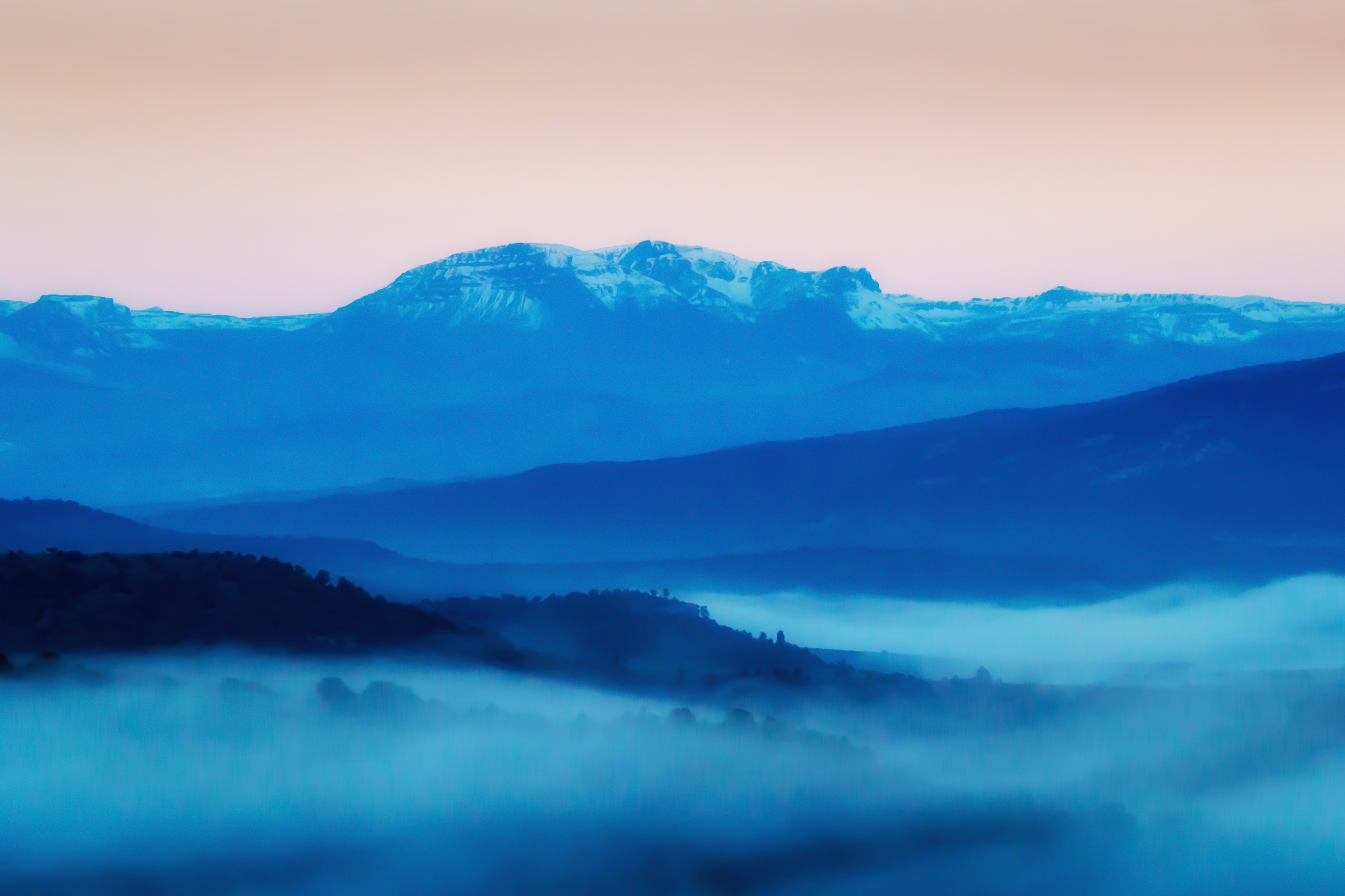 blue foggy mountain