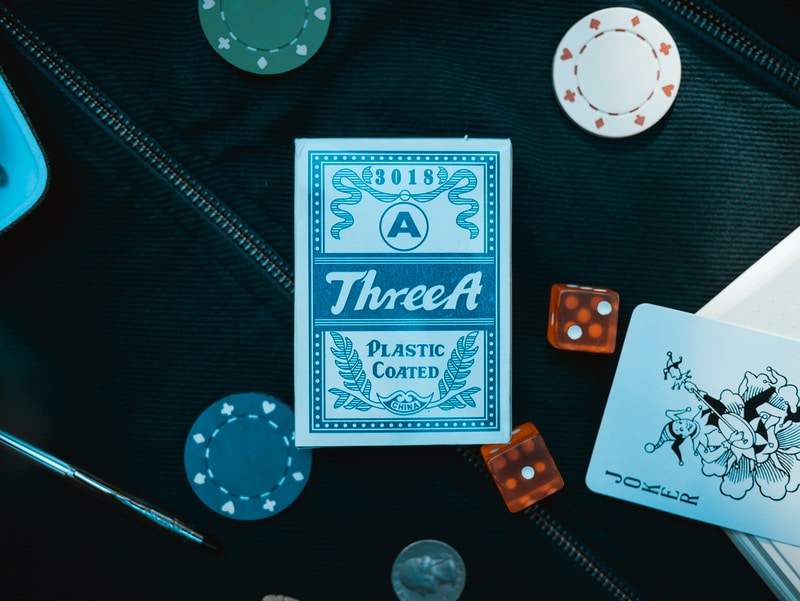 blue Three A plastic coated playing card box