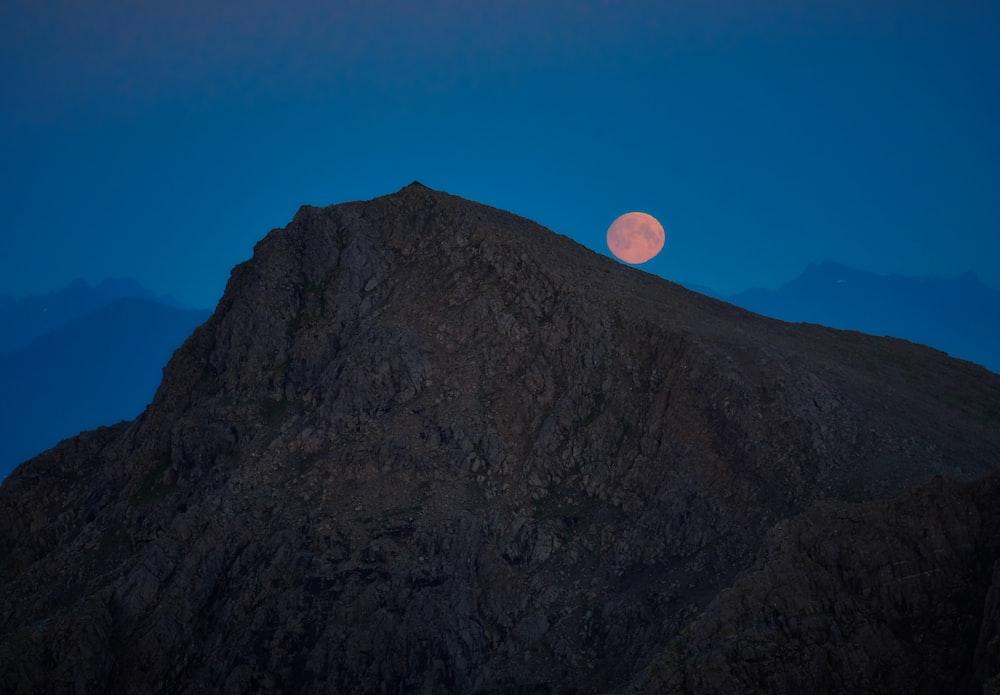 brown mountain during nighttime