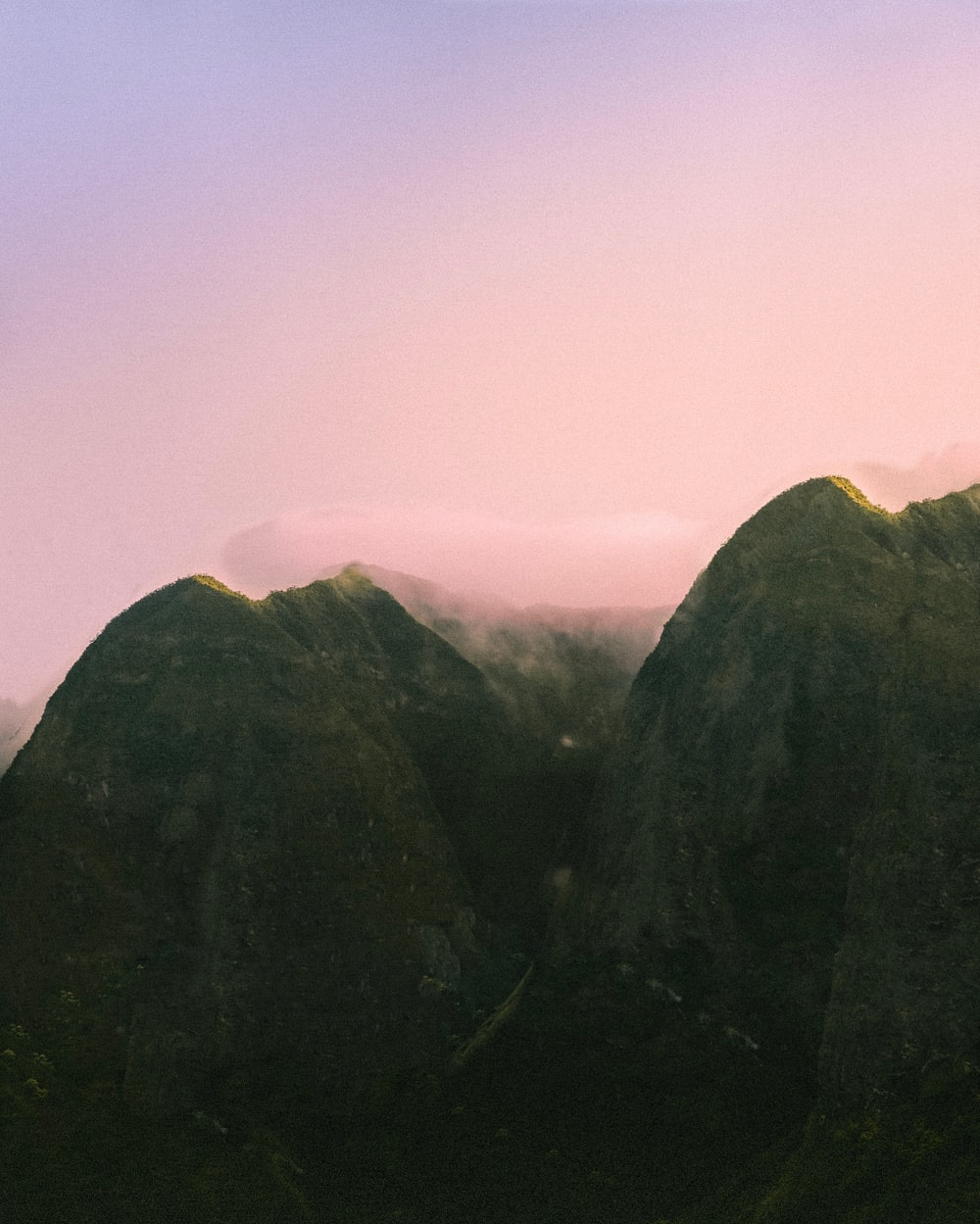 mountain aerial photography during nightfall