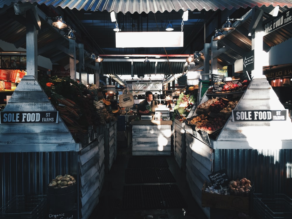 vegetables and food on stall