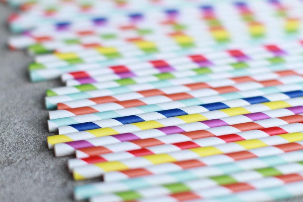 assorted-color straws