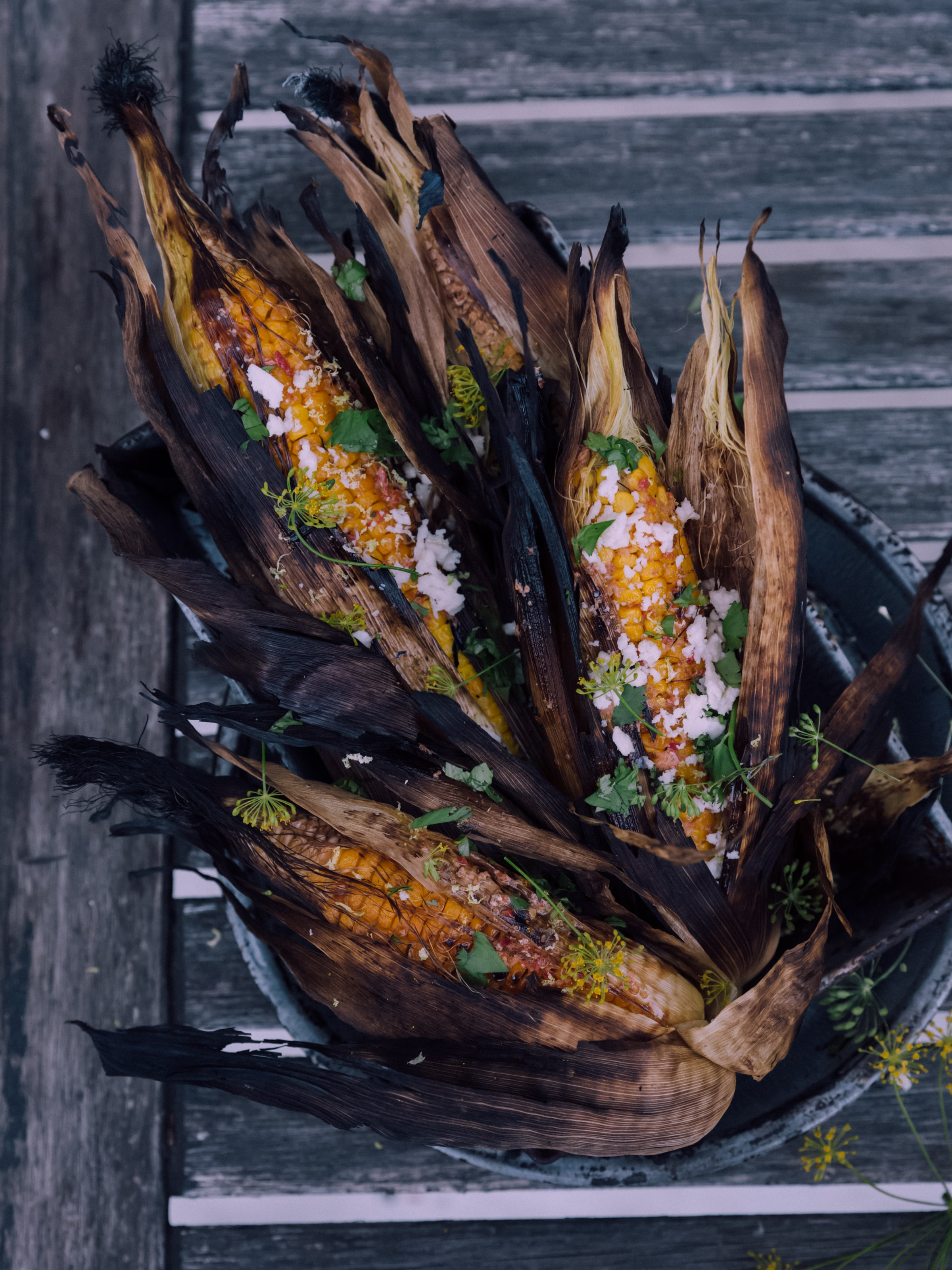 four grilled corns on gray bucket