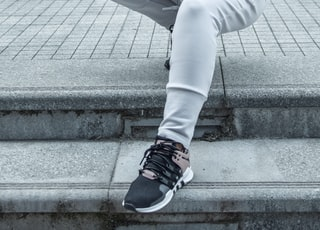 woman in grey adidas hoodie and pants photo