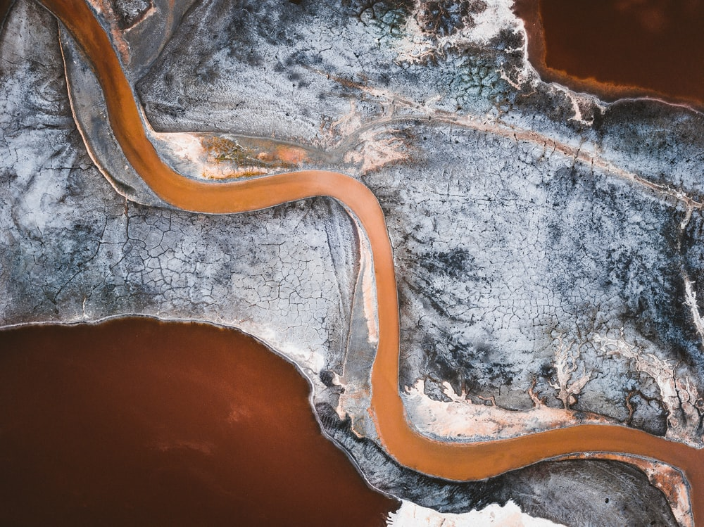aerial photography of river through valley