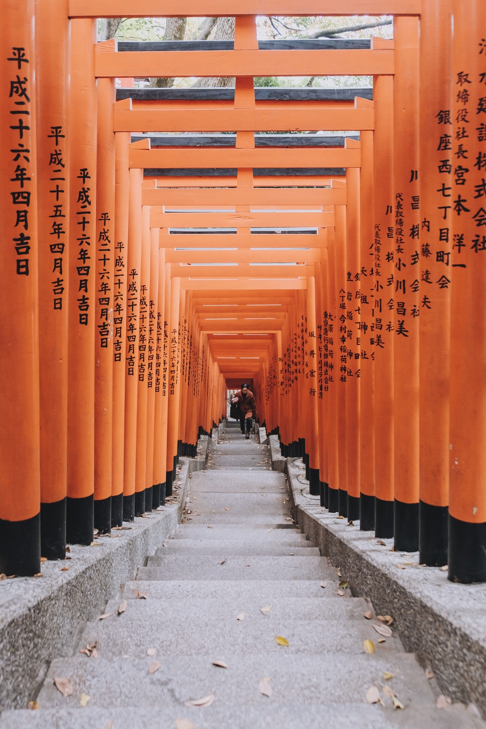 person climbing on stairs with orange pillars