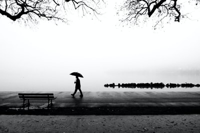 person walking near body of water holding umbrella