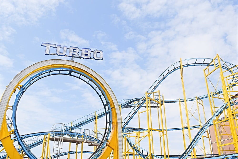 yellow and blue Turbo roller coaster