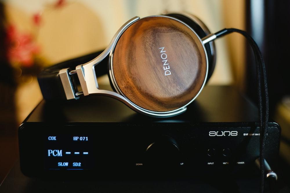 Denon headphones on amplifier