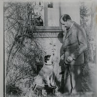 grayscale photo of man and dog