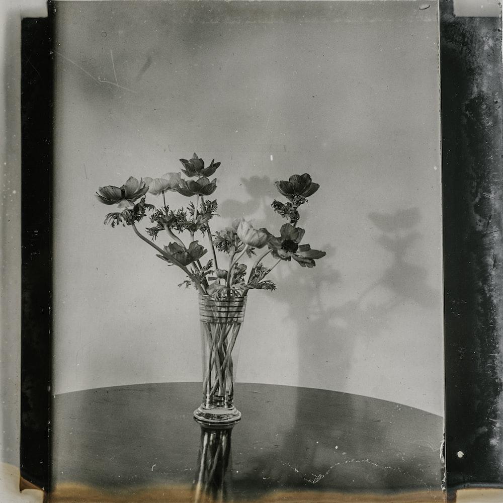 grayscale flowers artwork