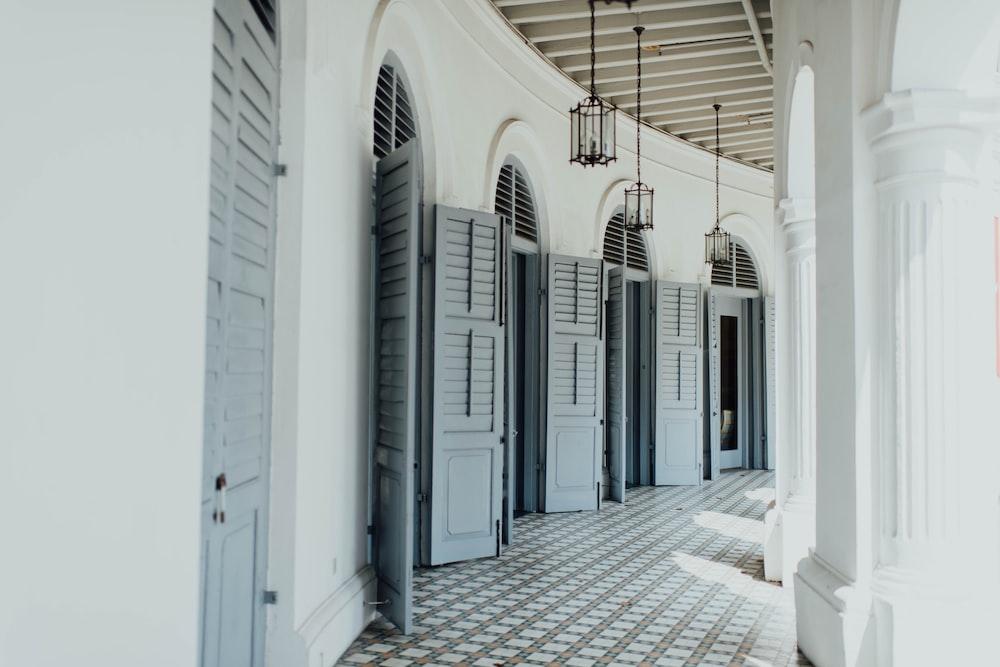 opened gray wooden doors