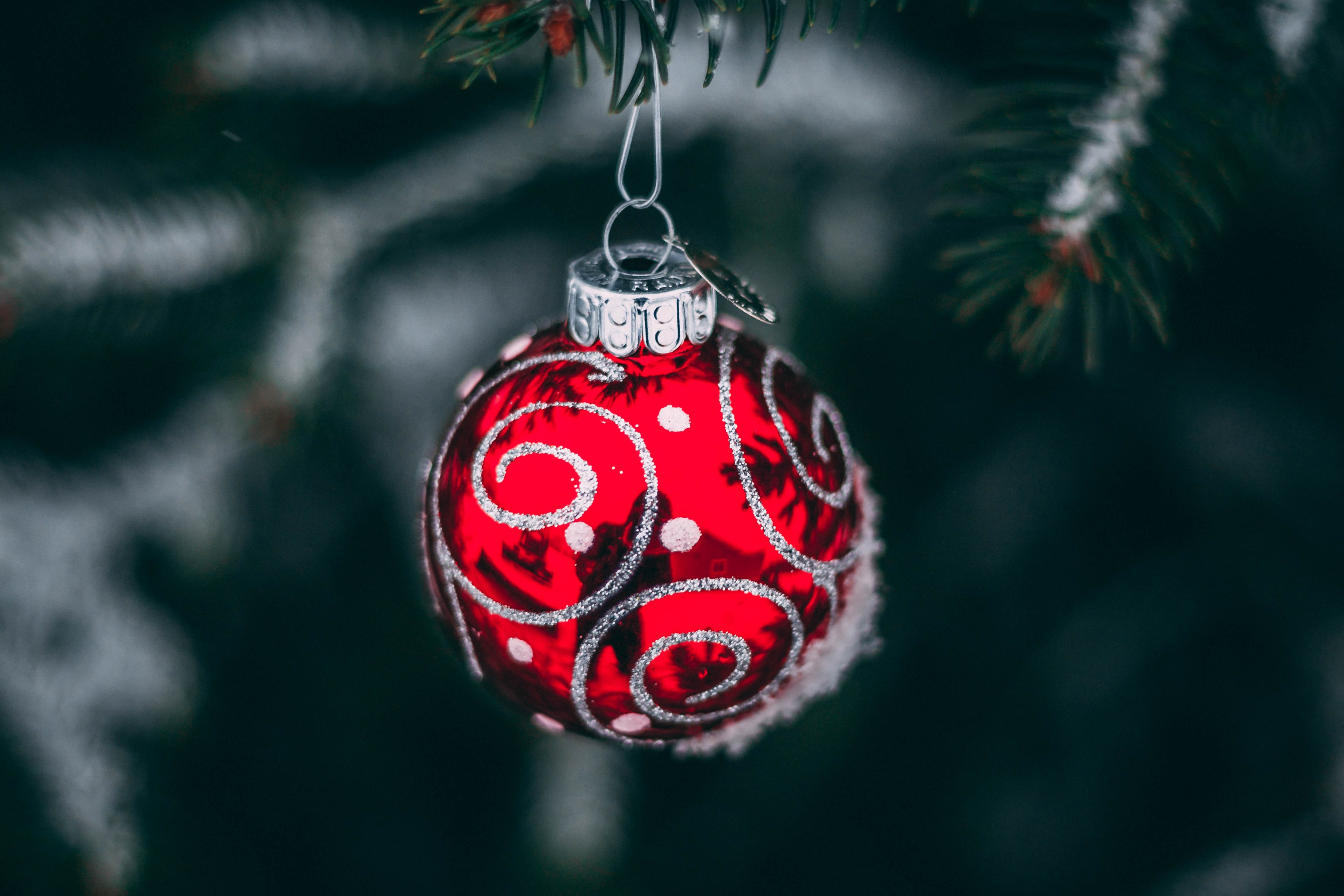 shallow focus of red and gray baubles