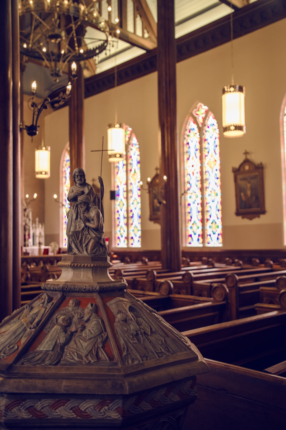 selective focus photography of cathedral interior