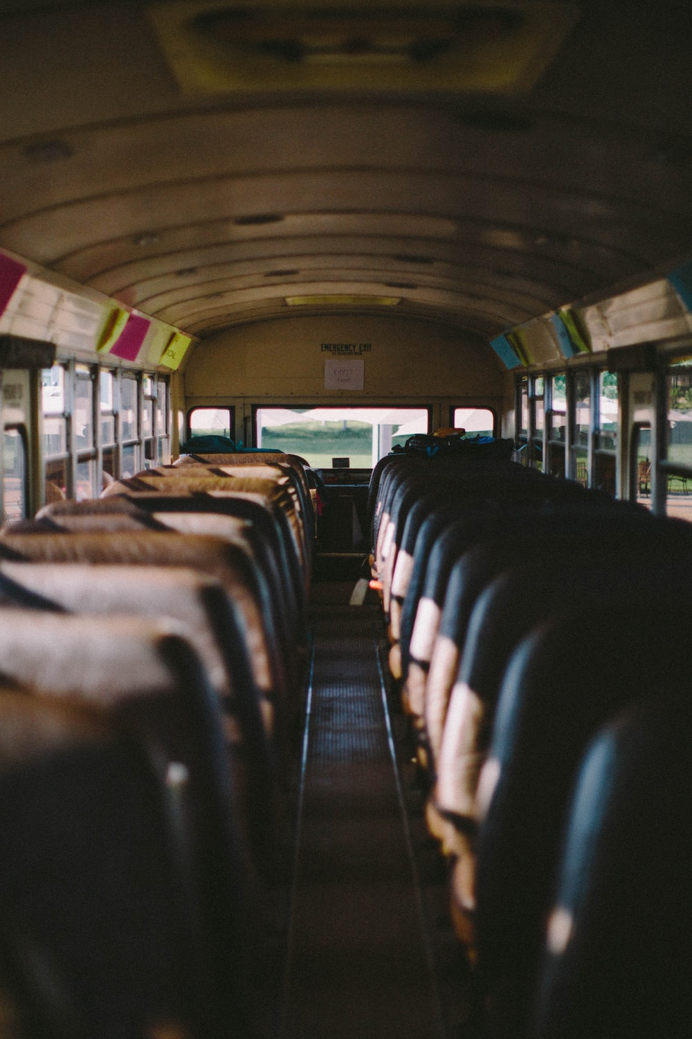 selective focus photography of bus interior